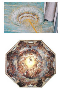 Guoghi identified the shapes misidentified as UFOs as standard artistic elements with a commonly understood meaning by artists and patrons alike. In many cases, such as the aerial circular shapes in art, these elements are so common as to be incorporated as part of the cupola in cathedrals.